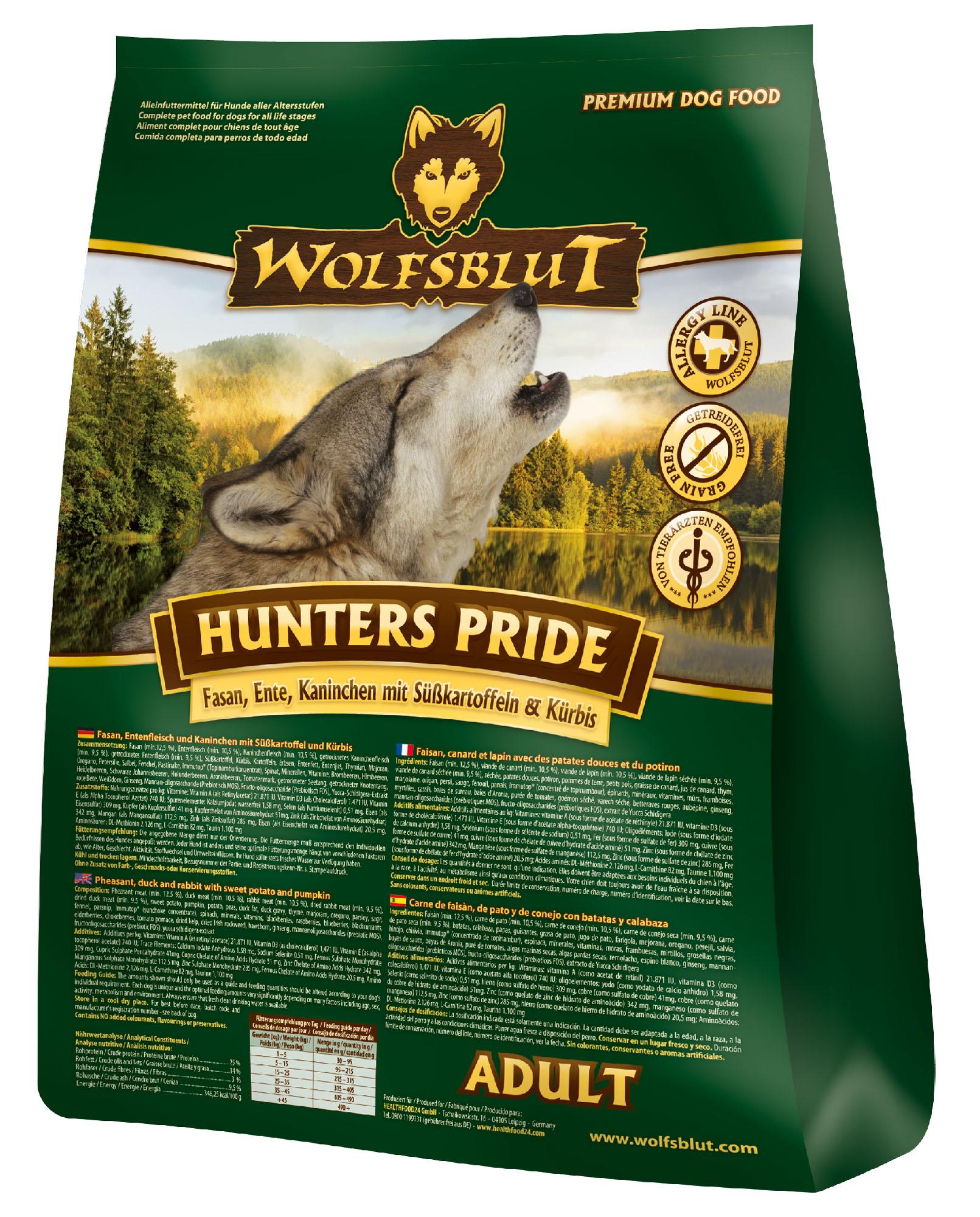 wolfsblut hunters pride trockenfutter f r hunde mit fasan ente und kaninchen 2kg dogandshop. Black Bedroom Furniture Sets. Home Design Ideas