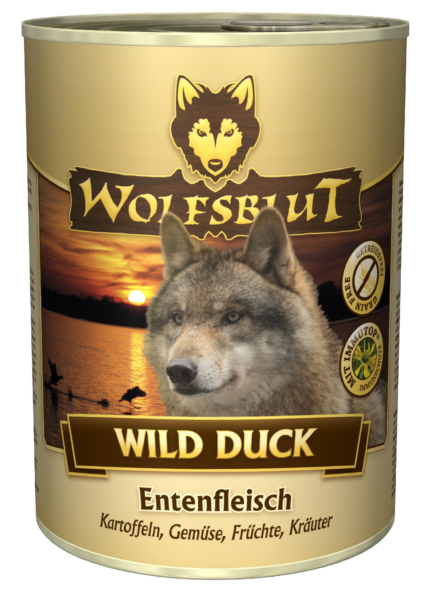 wolfsblut wild duck nassfutter mit ente 800 g dogandshop gutes f r hunde und ihre. Black Bedroom Furniture Sets. Home Design Ideas